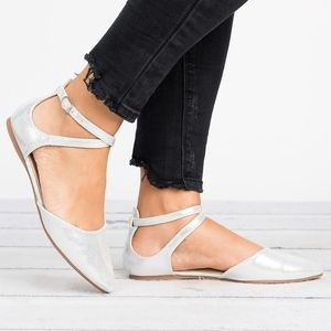 Metallic Silver Cross Strap Flats